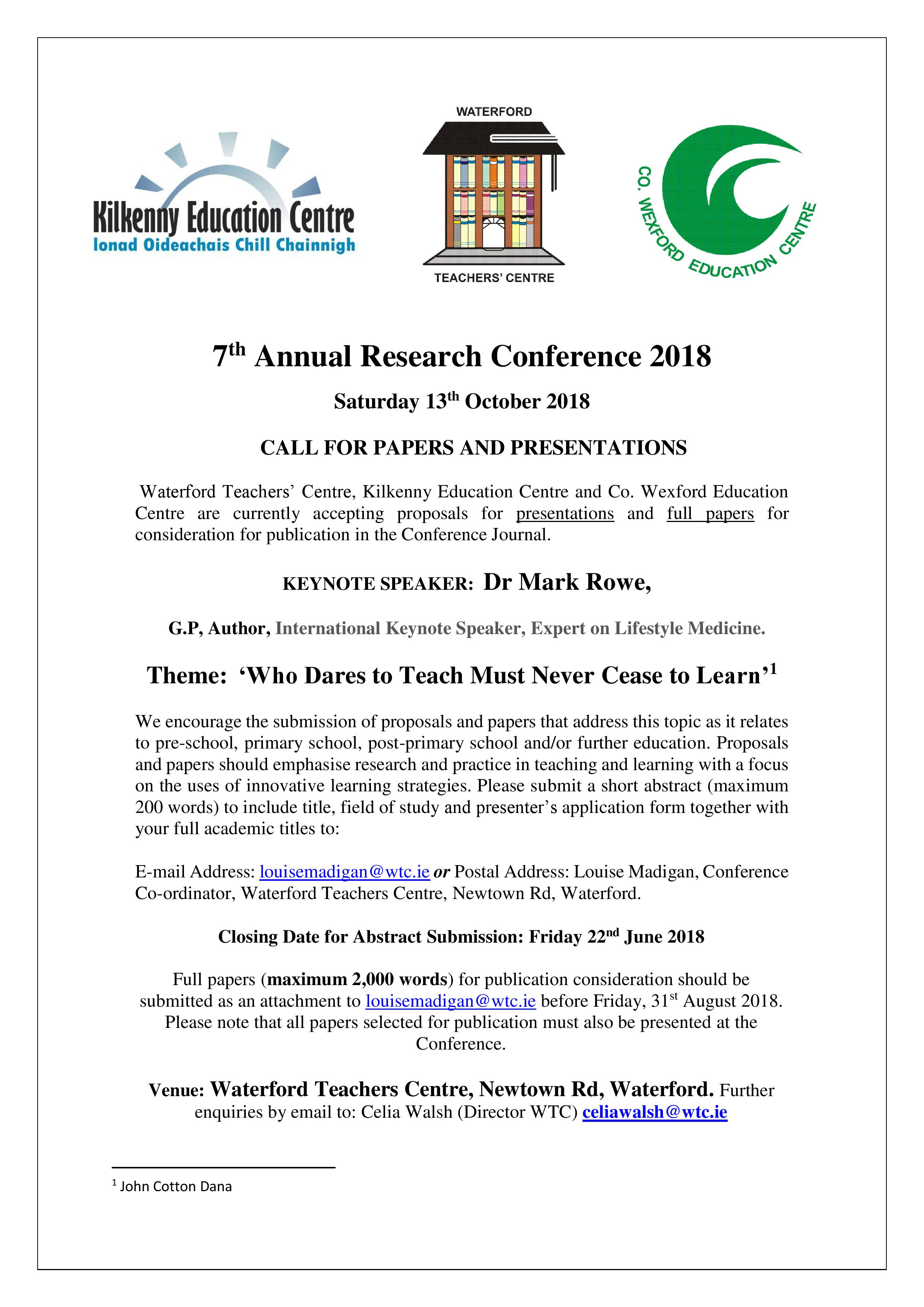 Call for Papers Research Conference 2018 page 001