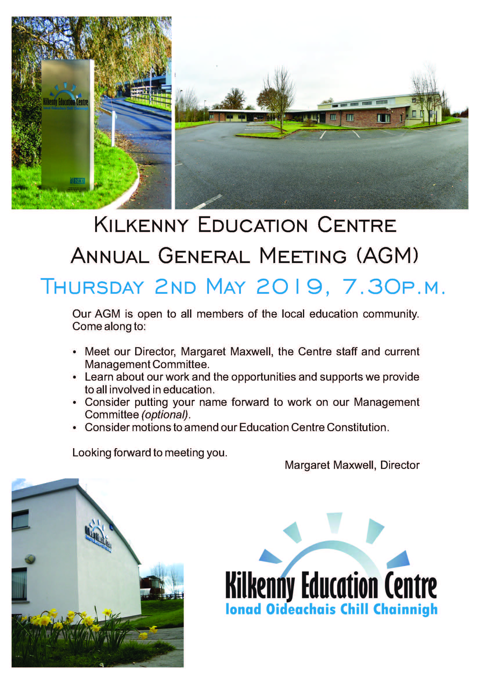 Kilkenny Education Centre AGM Flyer Corel Draw Format